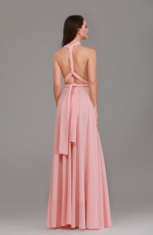 pale peach chiffon multiway maxi dresses