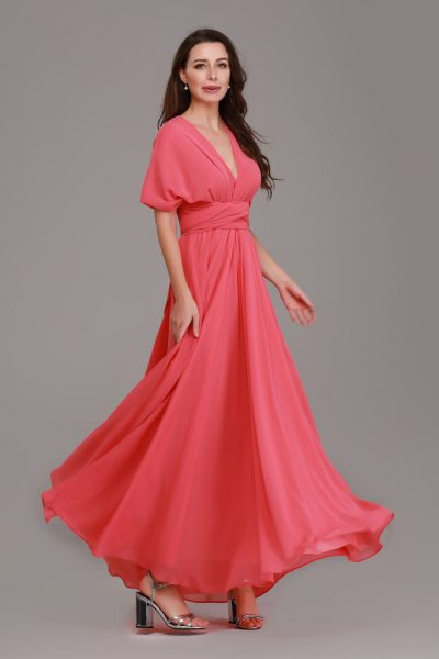 coral pink bridesmaid dresses