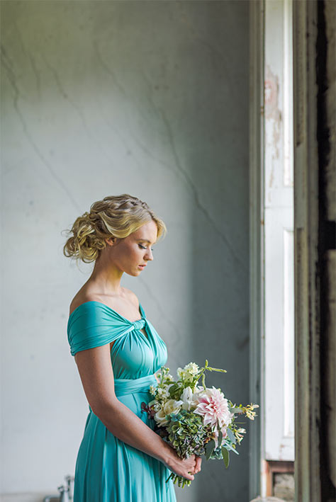 off shoulder bridesmaid dress