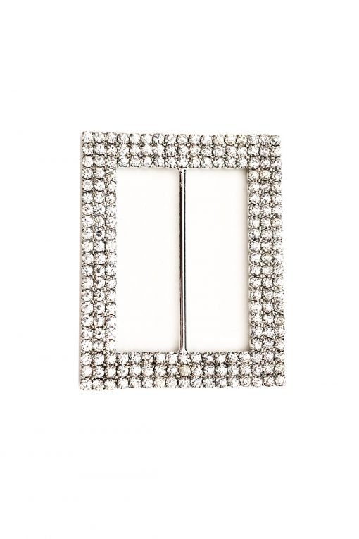 Silver diamante rectangle buckle
