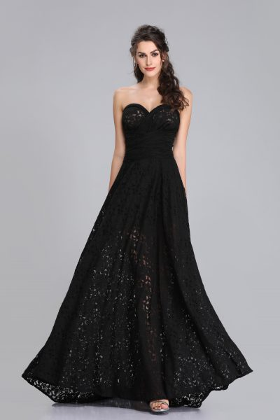 Lilian Black Lace Floor Length Dress
