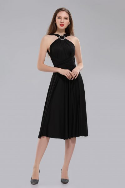 Amber short black multiway dress