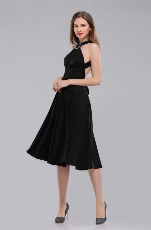 Amber short black multiway dress side