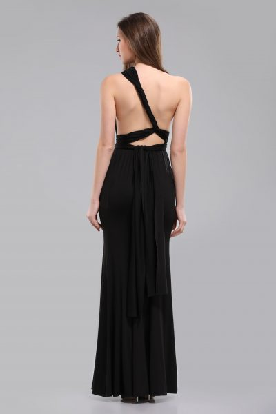 alexa multiway black long dress back